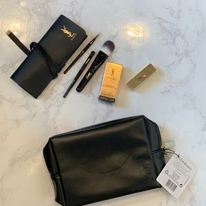 YSL travel brush set, makeup bag and samples
